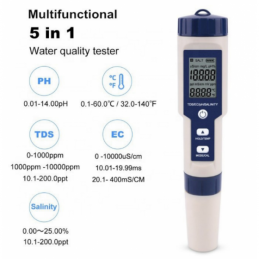 China 5 in 1 TDS/EC/PH/Salinity/Temperature Meter 5 in 1 TDS/EC/PH/Salinity/Temperature Meter company